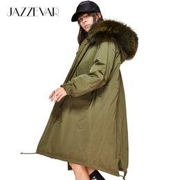 JAZZEVAR New Fashion 2017 winter Women's 90% white duck down jacket oversize long down coat large real raccoon fur Hooded Parka