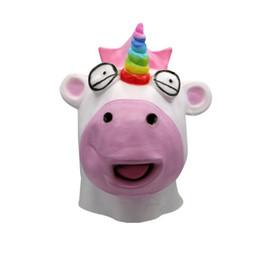 Historieta de la máscara de los payasos online-Máscara de unicornio Halloween Horror Látex de dibujos animados de cara completa Animal Prop Props Adultos máscara de payaso Head Cover 5pcs OOA5640