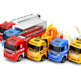 Wholesale toys model fire car - 1:64 Sliding Alloy Car Truck Engineering vehicles Fire truck Rescue vehicle Model Educational Toys for Children Baby boys Gift