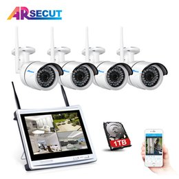 "Wholesale camera security wireless screen - Plug And Play 12"" LCD Screen 4CH Wireless NVR CCTV System 960P HD Outdoor Security IP Camera WIFI Video Surveillance Kit 2TB HDD"