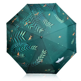 Wholesale lighted willow - Fresh River Bank Willow Scenery Pattern Women Rain Sun Umbrella 3 Folding 8 Rib Sunshade Wind Resistant Frame Lady Umbrellas