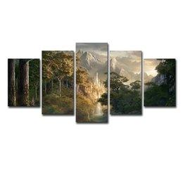 Pinturas de montaña online-Pinturas sobre lienzo Wall Art Prints Marco 5 Unidades Castillo en las montañas Fotos El Señor de los anillos Pósteres Decoración de sala