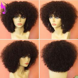 Corti short parrucca ricci online-Nuovo stile parrucche sintetiche anteriori parrucche afro ricci crespi per le donne nere parrucche ricci di breve densità 150 con parrucca libera frangia cap