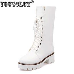 Wholesale Platform Heels 5cm - YOUGOLUN Women Snow Boots Winter waterproof Square Heels 5cm Woman Lace up Black White Round toe Warm Platform Shoes #Z-077
