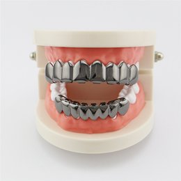 Wholesale Tooth Suit - Gold Grillz 8 Top Teeth Bottom Tooth Plain Hip Hop Grills Cool Gold-plated Teeth Costume Accessories Christmas Halloween Toys New