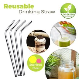 Wholesale Curved Metal - 20oz 30oz Bent Straight Stainless Steel Straws Durable Drinking Straw Curved Sucker Bar Metal Drinking Tools Free Fedex