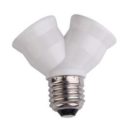 Wholesale lamp socket splitter - E27 Bulb Base Splitter Y Shape Light Lamp Bulb Socket 1 to 2 Splitter Adapter Converter Socket White Copper Lamp Holder