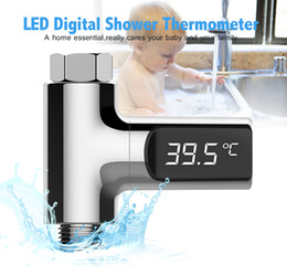 Wholesale Baby Meter - LED Display Home Water Shower Thermometer Flow Self-Generating Electricity Water Temperture Meter Monitor For Baby Care