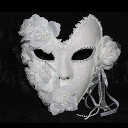Wholesale Masquerade Queen Costume - White Flower+ Feathe Handmade Elegant r Venetian Type Masquerade Party Costume Ball Mask Halloween Queen Mask