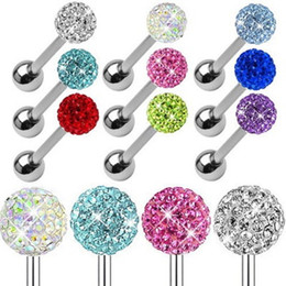 2020 cristaux de mamelon 6color langue acier Body Piercing Bijoux 1.6 * 10 * 5 / 6cm Cristal Ring Tongue Barbell Piercing nez Anneaux oreille Titiller Bar pas cher Wholesales cristaux de mamelon pas cher