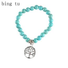 Wholesale Blue Elastic Bracelet - whole saleBing Tu Boho Blue Natural Stone Elastic Bracelets For Women Men Retro Tree Cross Owl Elephant Hand Charm Pendant Bracelet Bangle