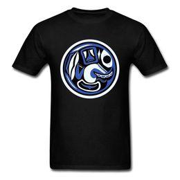 indian man cartoon Rabatt Northwest Indian Killer Whale Mond-Männer T-Shirt Abstrakte Kunst Design Cartoon-T-Shirt Art und Weise Black 2018 Sommer Neu