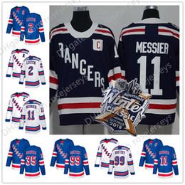 Wholesale richter rangers jersey - New York Rangers #2 Brian Leetch 11 Mark Messier 35 Mike Richter 99 Wayne Gretzky Blue White Winter Classic Navy Retied Players Jerseys