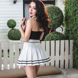 Wholesale sexy school girl uniforms - Sexy Vintage School Girl Skirt Cute High Waist Pleated Mini Skirt Summer Women Uniform Skater Preppy Style