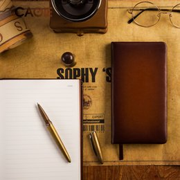 Wholesale free classic books - Vintage Brown Classic PU Leather Diary Book A5 A6 Lined NotGift Free Shipping School Office Supplies