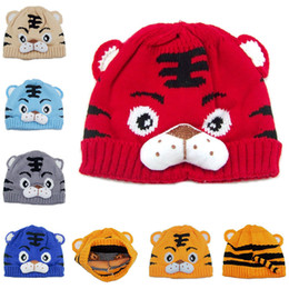 Infant Baby Children Tiger Cartoon Cap Warm Winter Hats Knitted Wool Hemming Cap