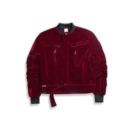 Wholesale Quilted Coat Black - Winter Black Red White hiphop Buckle Hem Cotton Padded Velvet Men's MA1 Quilted Jacket Cardigan Coat Pilot Velour Bomber Jacket men SUPBIG
