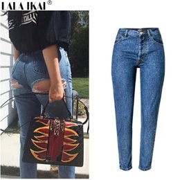 Wholesale Sexy Destroyed Jeans - Cotton Ladies Denim Pants Ripped Vintage 2017 Jeans Skinny Sexy Hip Destroyed Hole Jean Female High Wasit Women Pants KWA0159-45