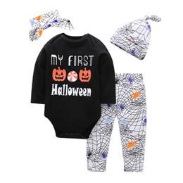 Trajes assustadores on-line-Bebê Abóboras Assustadoras Conjuntos de Roupas Meninos Meninas Halloween Romper Tops + Algodão Aranha Impresso Calças Outfits crianças Meu Primeiro Traje de Halloween