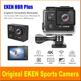 Wholesale live doves - EKEN H8R plus Live Streaming 4K Ultra HD 2 inch Screen + Status Screen Action Sports Camera WIFI HDMI 170 WiFi control waterproof DV 5pcs