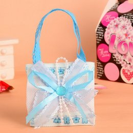 Wholesale birthday favour bags - Pink Blue Baby Boy Girl Non-woven Fabric Candy Bag Party Favor Birthday Baby Show Gift Favour Handbag ZA5667