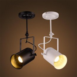 rod track Promo Codes - Loft Vintage LED Track Lights Wrought Iron Ceiling Lamps Clothing Bar COB Spotlights Industrial American Style Rod Spot Lighting