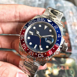 Wholesale folding surfaces - Mens High Quality Luxury GMT Noob Factory V2 Dark black surface blue 40mm 116710 ETA 2813 red dial Ceramic Movement Automatic Watch