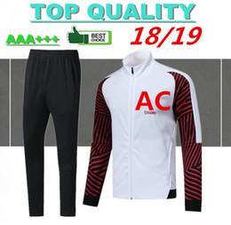 blanco ropa deportiva Rebajas 2018 2019 Milan chaqueta de fútbol blanco negro survetement 18 19 HIGUAIN CALHANOGLU ROMAGNOLI Cremallera completa Chaqueta de fútbol sportswear chándal