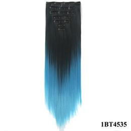 """2019 trama del pelo bohemio 24 """"clips de cabeza completa en extensión de cabello sintético color de degradado 7 unids / set 130g clips de alta calidad de extensión de cabello sintético"""