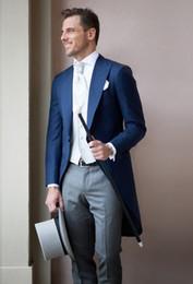 moderne hochzeitsanzüge blau Rabatt Moderne Blue Long Coat Männer Anzug 3 Stücke (Jacke + Pants + Weste) Neueste Hochzeit Prom Bräutigam Männer Anzüge Smoking Terno Masculino