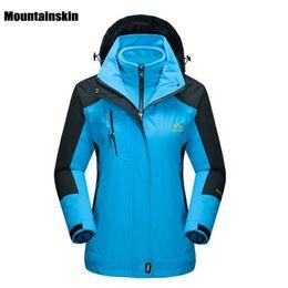 Wholesale Female Ski Jackets - Mountainskin Women 'S Winter 2 Pieces Softshell Fleece Jackets Outdoor Sports Waterproof Thermal Hiking Skiing Female Coats Rw015