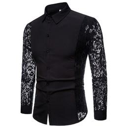 Chemise homme noire à manches longues en Ligne-Hommes Chemises Casual 2018 Mode Automne Manches En Dentelle Coton Hommes À Manches Longues De Haute Qualité Chemise Casual Blanc Noir Chemises De Chemise