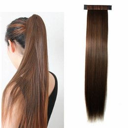 Wholesale Freetress Synthetic Hair - Sara Pat Circle Straight Ponytail 55CM,22Inch Clip in Ponytails Hair Extension Freetress Pony Tail Synthetic Hair Pieces 100g Horsetail