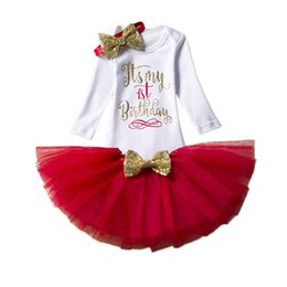 Wholesale Infant Baby Girl Party Outfits - Fancy Baby Girl Clothing Sets Little Girl Long Sleeve Tutu Baby Sets Infant Party Costume Toddler First Birthday Outfits