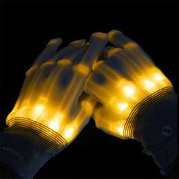 Wholesale Luminous Gloves - 5pair lot led gloves luminous skeleton fiber gloves toys party halloween supplies light up props toy glow flashing bone