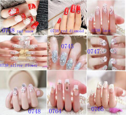 Wholesale Fake Nails Girls - 24 Pcs Set Girls Pink Series Gift 3D Nail Sticker Fashion Finger Fake Nail Tips Beautful Nail Art Stickers Tools False Nails