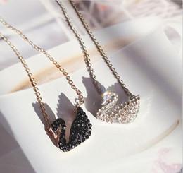 Jade aumentou colares on-line-Cisne Colar Clavícula Set Pingente De Cristal Coreano Moda New Rose Item De Ouro