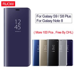 Wholesale Note View Cover - Luxury Clear View Mirror Flip Case for Samsung Galaxy S9 S8 Plus Case for Galaxy Note 8 Cell Phone Case Back PC Cover