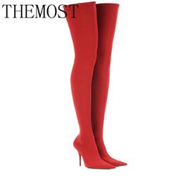 Botas altas hasta la rodilla para las mujeres delgadas online-THEMOST2017 Botas altas del muslo del verano del invierno altas del satén elásticos sobre la rodilla cielo zapatos de tacón alto delgados botas largas de las mujeres