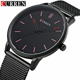 Wholesale Curren White - Fashion Top Luxury brand CURREN Watches men Stainless Steel Mesh strap Quartz-watch Ultra Thin Dial Clock man relogio masculino