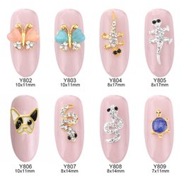 Wholesale 3d Butterfly Nail Art - 50pcs 3d French Bulldog opal nail art gems butterfly animal design jewelry nails snake decorations new arrive charm wholesalers Y802~809