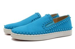 Wholesale B Tips - Fashion Sky Blue Cashmere Two Lap Tip Nail Low with Spikes Casual Mens Womens Shoes Sneakers for Women Party Shoes Woman