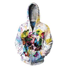 822c18f4c410 Discount boys skull hoodie - 3D Flowers Skull Hooded Sweatshirt Plus Size  Zipper Men Hoodie Butterflies