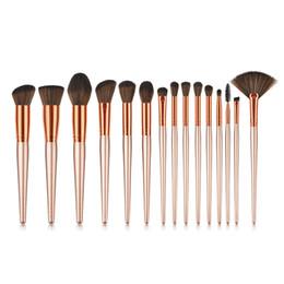 15 adet makyaj şampanya altın fırçalar set kozmetik makyaj seti kozmetik fırça seti özel etiket OEM fabrika makyaj fırçalar nereden pc oem tedarikçiler