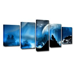 moon paintings Promo Codes - Canvas Paintings Home Decor HD Prints 5 Pieces Moon Night Wolf Howl Pictures Animals Posters For Living Room Wall Art