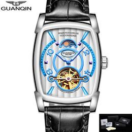 GUANQIN Watch Men Rectangle Mechanical Wristwatches Moon Phase Water Resistant Luminous Hands Clock Men 2018 montre homme supplier water hand clock от Поставщики часы ручной воды