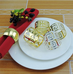 Anelli di tovagliolo cinese online-12pcs portatovagliolo portatovagliolo in oro argento cinese tovagliolo a parete anello occidentale cena asciugamano anello decorazione del partito decorazione della tavola