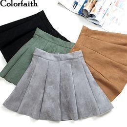 Wholesale girl school skirt xl - New 2018 Autumn Winter Women Mini Pleated Skirt Suede Solid Multi Colors High Waist School Girls Femininas Skater Skirt SK3681