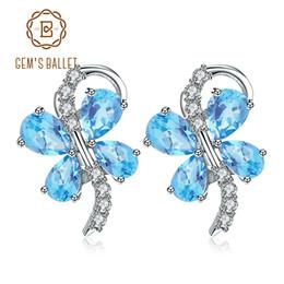 Orecchini farfalla blu online-GEM'S BALLET Cute Butterfly Shape Natural Blue Topaz Gemstone 925 Orecchini in argento sterling per le donne Gioielli gioiello romantico