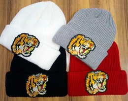 Wholesale tiger beanie hat - Hot sale Unisex Newest Winter brand fashion men tiger warm Knitted hat women casual cotton Beanies hip hop Rough wool skull caps gorros